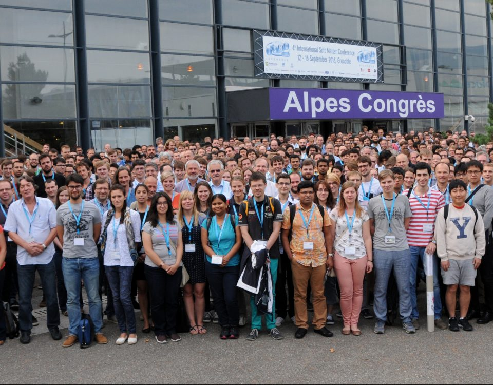 Attendees of the ISMC2016 in front of the Alpes Congrès Center. Copyright: Serge Claisse@ILL, www.ill.eu, reprinted by permission of Taylor & Francis LLC, from Fragneto G at al., Neutron News, 2016;28(1):11-14.