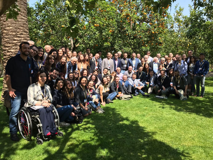 The entire Italian delegation at lunchtime, organized outside under the orange and lemon trees. Source: AERC2018 local committee
